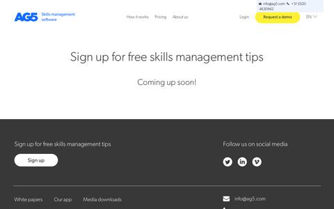 Screenshot of Signup Page ag5.com - Skills Management Software | Free Skills Management Tips | AG5 - captured Oct. 22, 2018
