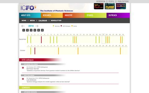 Screenshot of Press Page icfo.eu - ICFO-Events Calendar - captured Sept. 24, 2014