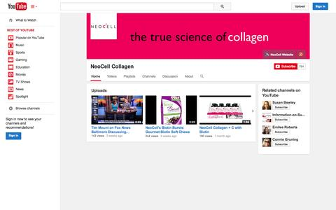 Screenshot of YouTube Page youtube.com - NeoCell Collagen  - YouTube - captured Oct. 29, 2014