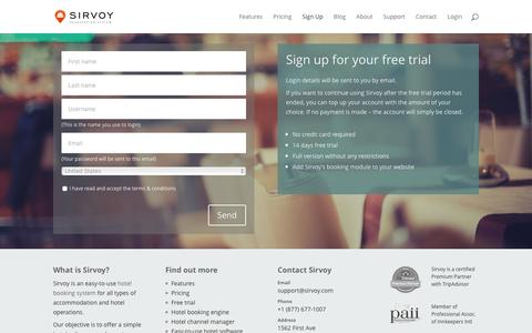 Screenshot of Signup Page Trial Page sirvoy.com - Sign up for your free trial | Sirvoy Hotel Booking System - captured Jan. 11, 2016