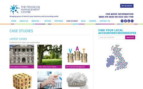 Screenshot of Case Studies Page tfmcentre.co.uk - Financial Management Centre Case Studies - captured Feb. 15, 2016