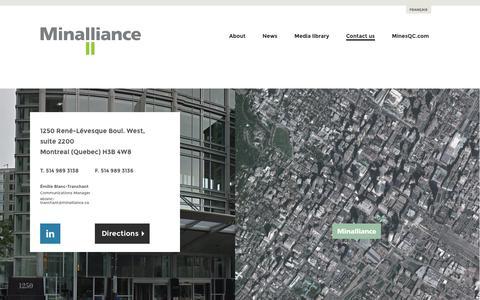 Screenshot of Contact Page minalliance.ca - Contact us - Minalliance - captured Oct. 7, 2014