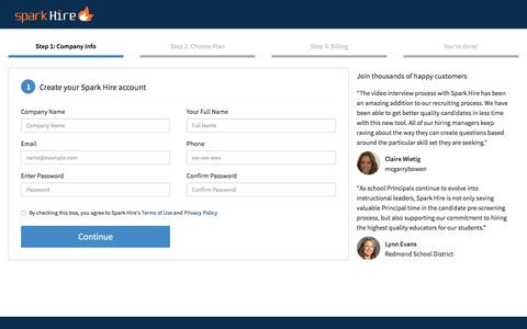 Screenshot of Signup Page Landing Page sparkhire.com - Sign Up - Spark Hire - captured Aug. 18, 2016