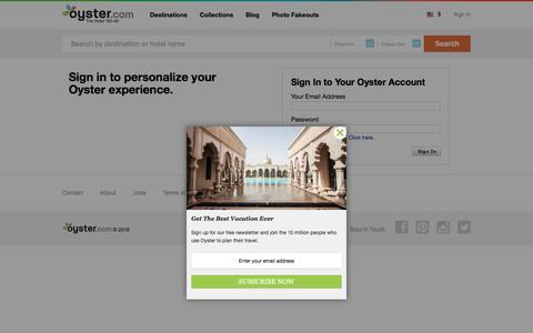 Screenshot of Login Page oyster.com - Sign In to Your Account | Oyster.com Hotel Reviews - captured Jan. 13, 2016