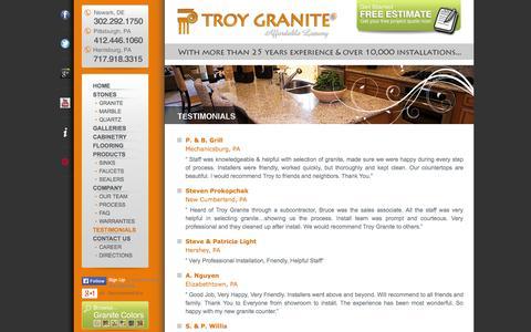 Screenshot of Testimonials Page troygranite.com - TESTIMONIALS – Troy Granite Countertops | Newark DE, Pittsburgh PA, Harrisburg, PA - captured Oct. 9, 2014