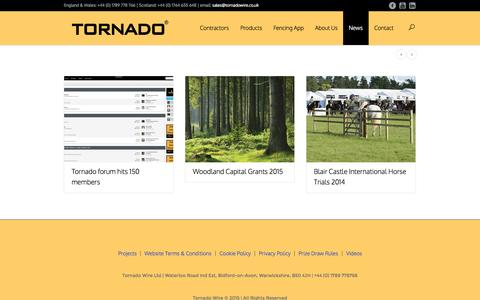 Screenshot of Press Page tornadowire.co.uk - News | Tornado Wire | Agricultural Fencing - captured Aug. 13, 2015