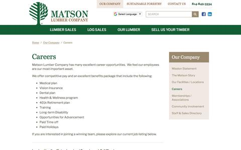 Screenshot of Jobs Page matsonlumber.com - Matson Lumber Company | Careers - captured June 24, 2018