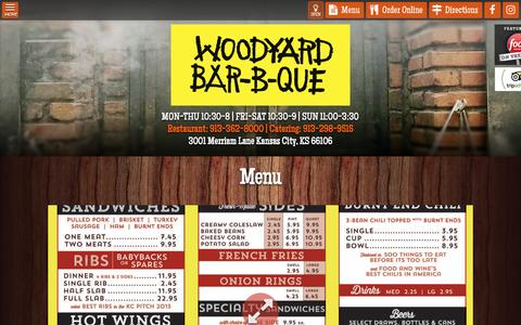 Screenshot of Menu Page woodyardbbq.com - Woodyard BBQ | Menu - captured Nov. 30, 2016