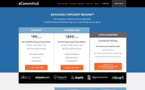 Screenshot of Pricing Page ecommhub.com - Pricing | eCommHub - captured Sept. 16, 2014