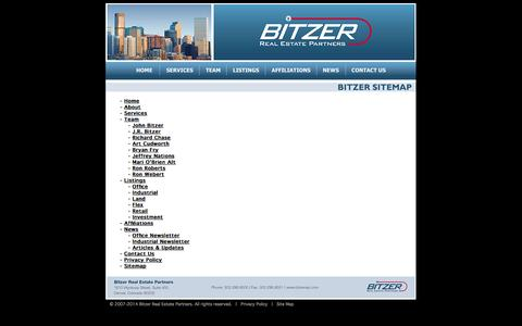 Screenshot of Site Map Page bitzerrep.com - Bitzer Real Estate Partners - Colorado Commercial Real Estate - Site Map - captured Oct. 5, 2014