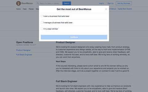 Screenshot of Jobs Page beermenus.com - Work with BeerMenus - captured Oct. 10, 2017