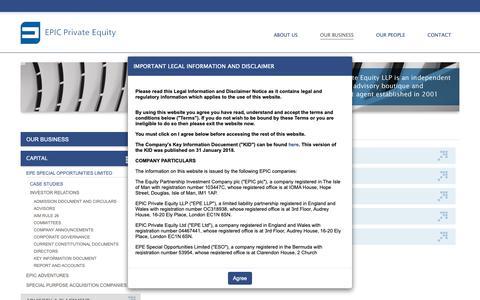 Screenshot of Case Studies Page epicprivateequity.com - Case Studies - EPIC Private Equity - captured Nov. 4, 2018