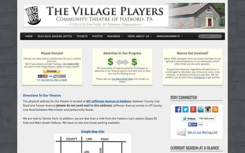 Screenshot of Maps & Directions Page thevillageplayers.com - The Village Players of Hatboro | Directions - captured Oct. 9, 2014