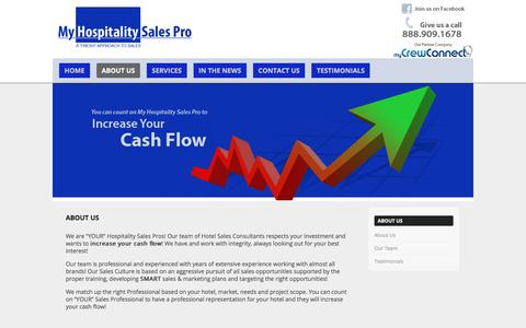 Screenshot of About Page myhospitalitysalespro.com - About Us   - captured Nov. 2, 2017