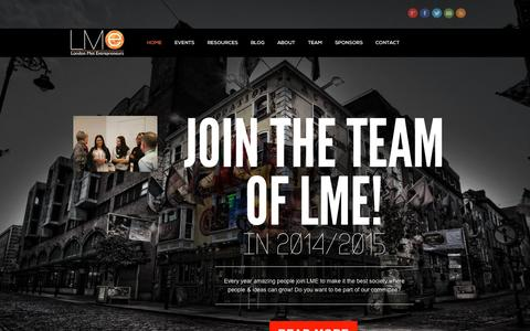 Screenshot of Home Page lmentrepreneurs.com - London Met entrepreneurs | LMe - captured Oct. 3, 2014