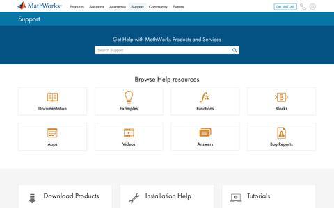 Screenshot of Support Page mathworks.com - MathWorks - Support - MATLAB & Simulink - captured Feb. 16, 2020