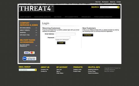 Screenshot of Login Page threat4store.com - Login - captured Oct. 7, 2014