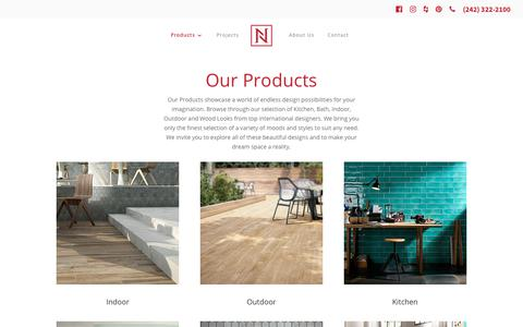 Screenshot of Products Page nassautile.com - Products   Nassau Tile - captured Sept. 20, 2018