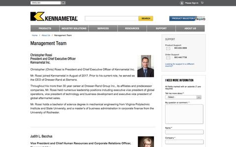Screenshot of Team Page kennametal.com - Management Team - captured Jan. 6, 2018