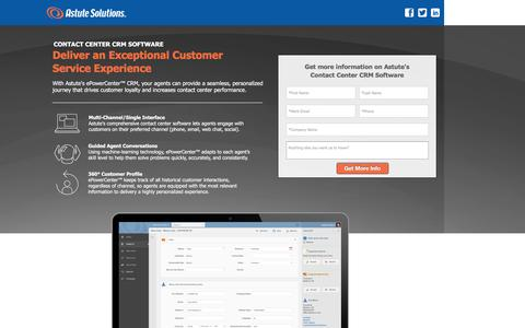 Screenshot of Landing Page astutesolutions.com - Astute Contact Center CRM Software - captured April 20, 2016