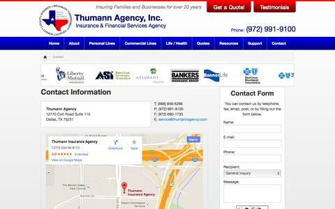Contact Information for Thumann Agency in Dallas, Texas