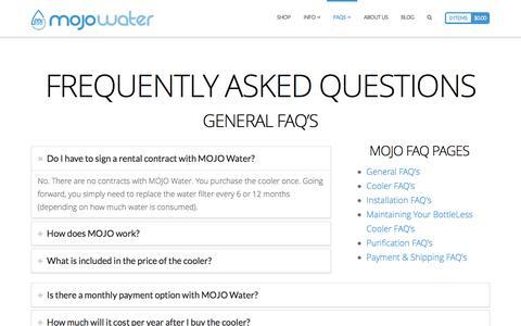 Screenshot of FAQ Page mojowater.com - FAQs | MOJO Water - captured July 4, 2016