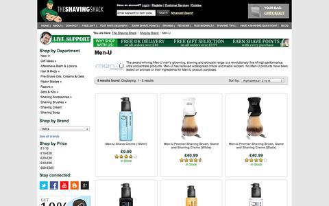 Screenshot of Menu Page shaving-shack.com - Buy Men-U Shaving & MenU Skincare Products | The Shaving Shack - captured Oct. 31, 2014