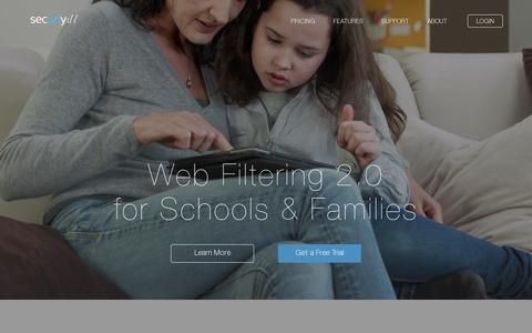 Screenshot of Home Page securly.com - Securly - Web Filtering 2.0 For Schools & Families - captured July 11, 2014