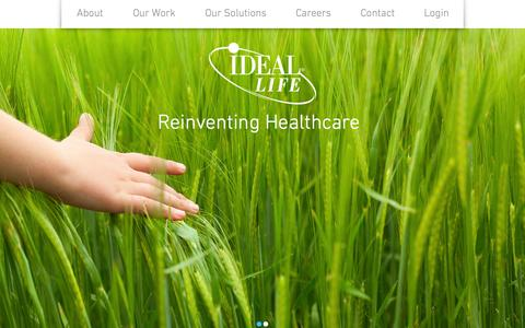 Screenshot of Home Page ideallife.com - IDEAL Life- Remote Patient monitoring - captured June 18, 2015