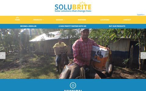 Screenshot of Home Page solubrite.com - Solar panel kits - Safe, clean and economical lighting - captured Jan. 11, 2016