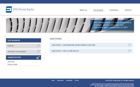 Screenshot of Case Studies Page epicprivateequity.com - Case studies - EPIC Private Equity - captured July 9, 2016