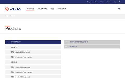 Screenshot of Products Page plda.com - Products | PLDA - captured Nov. 4, 2018