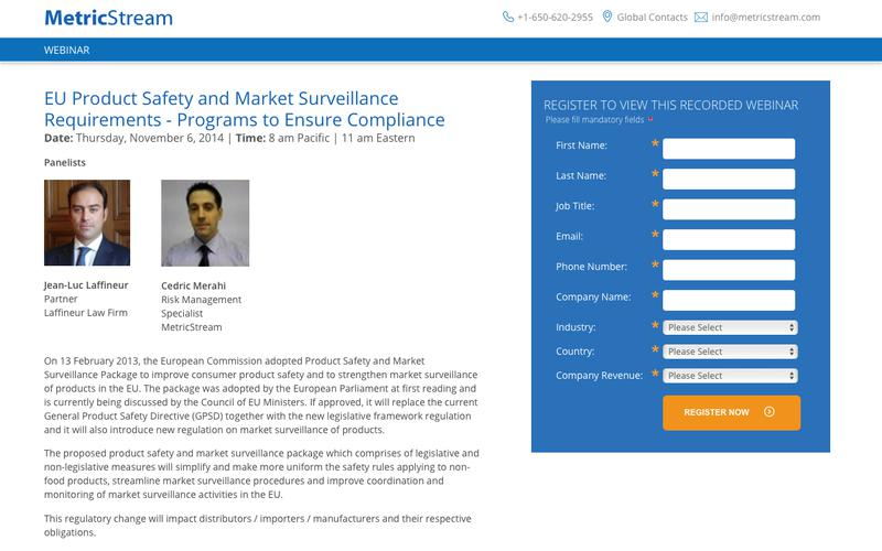 WEBINAR: EU Product Safety and Market Surveillance Requirements - Programs to Ensure Compliance