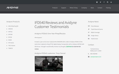 Screenshot of Testimonials Page avidyne.com - IFD540 Reviews and Avidyne Customer Testimonials - captured June 8, 2018