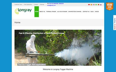 Screenshot of Home Page longrayfog.com - Buy Exclusive Range of Fogging Machines | LONGRAYFOG - captured Sept. 18, 2015