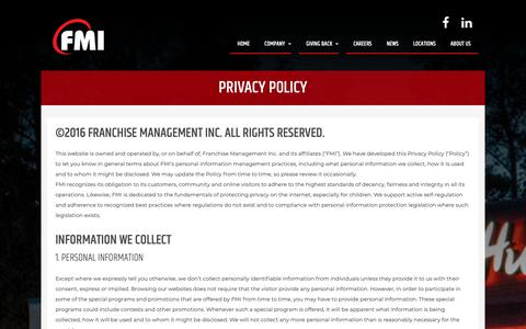 Screenshot of Privacy Page fmigroup.ca - Franchise Management Inc. Privacy Policy - captured Oct. 10, 2018