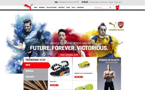 Screenshot of Home Page pumashop.in - PUMA Shoes, Backpacks, Jackets, Tees and Sportswear - Official PUMA India Online Store - captured Sept. 19, 2014