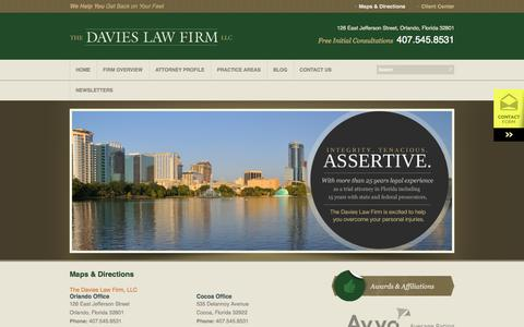 Screenshot of Maps & Directions Page orlandopersonalinjurylaw.com - Maps & Directions to the Davies Law Firm, LLC | Personal Injury Attorneys in Orlando, FL - captured Oct. 26, 2014