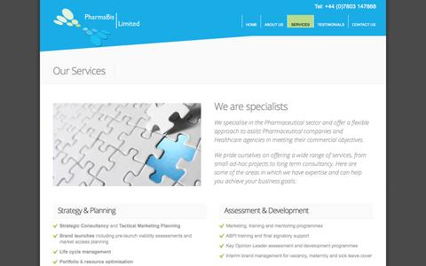 Screenshot of Services Page pharmabis.co.uk - Our Services - captured Oct. 2, 2014