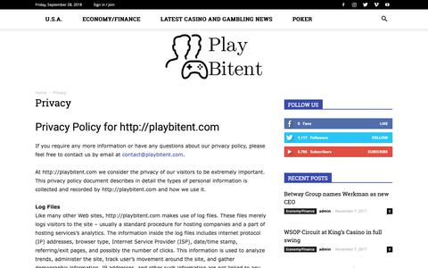 Screenshot of Privacy Page playbitent.com - Privacy - Play Bitent - captured Sept. 28, 2018