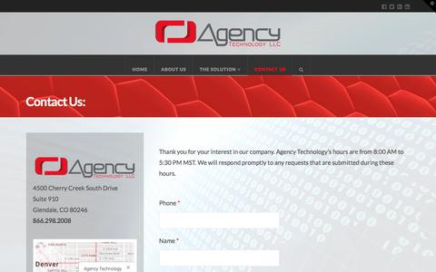 Screenshot of Contact Page agency-technology.com - Contact Us | Agency Technology - captured Nov. 20, 2016