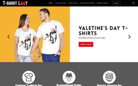 Screenshot of Home Page tshirtloot.com - T-shirt Loot – Customized T-shirts India | Design own T-shirt - captured Feb. 8, 2018