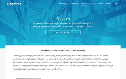 Screenshot of Services Page flexport.com - Flexport - Freight Forwarding and Customs Brokerage - captured Nov. 20, 2015