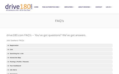 Screenshot of FAQ Page drive180.com - FAQ's - Drive 180 - captured Feb. 9, 2016