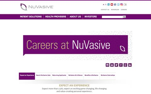 Screenshot of Jobs Page nuvasive.com - Careers at NuVasive | NuVasive®, Inc. - captured Oct. 6, 2016