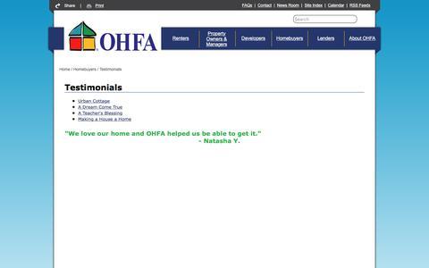 Screenshot of Testimonials Page ok.gov - Oklahoma Housing Finance Agency - Testimonials - captured Dec. 2, 2016