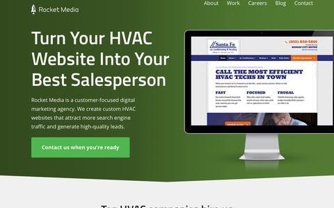 Screenshot of Home Page rocketmedia.com - HVAC Marketing * HVAC Websites * HVAC Digital Marketing * Top HVAC Marketing Agency * Security Alarm Digital Marketing * Websites for Security Alarm Companies - captured Sept. 13, 2018