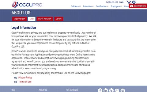 Screenshot of Terms Page occupro.net - Legal - captured Feb. 27, 2016