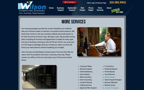 Screenshot of Services Page wilsoncomputer.com - Wilson Computer Support | Birmingham, AL | Services | Computer Repair, Virus Removal, Web Design - captured Aug. 10, 2019