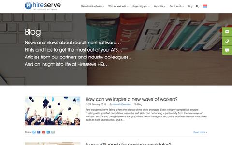 Screenshot of Blog hireserve.com - Hireserve's recruitment software blog - captured Jan. 30, 2016